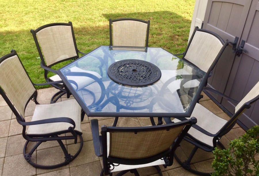 tuscan italian design cast aluminum hexagon patio table with lazy rh es letgo com