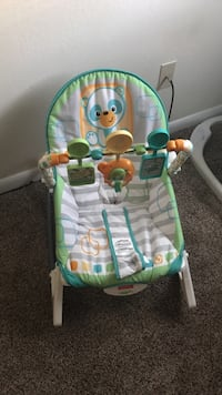 Baby's white and green Fisher Price deluxe bouncer Virginia Beach, 23464