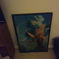 brown dragon painting with black frame