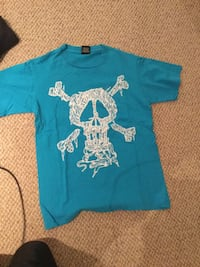 Blue and white skull printed crew-neck shirt (stussy)