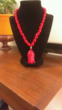 Beautiful coral necklace with large Budda West Hollywood, 90069