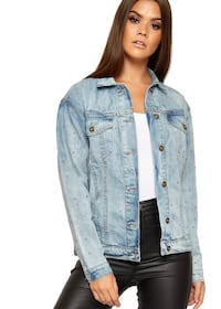 women's blue denim button up jacket