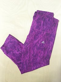 ADIDAS PURPLE CROP LEGGINGS SIZE MEDIUM WOMENS CLOTHING WORKOUT YOGA