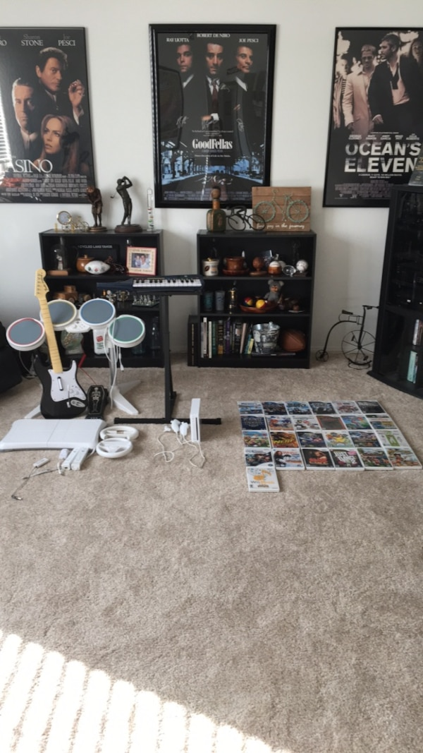 Wii System With Rockband Set and 25 Games