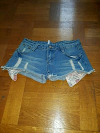 Blå denim Distressed Short Shorts