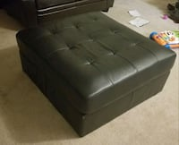 Black Leather Ottoman  Edgewood