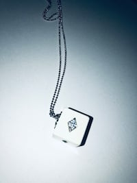 White Dice Cube Necklace