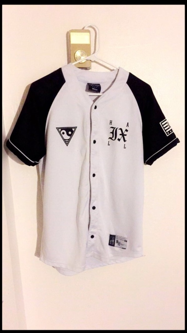 8dd8e4c17 Used white and black button up baseball jersey shirtt for sale in ...