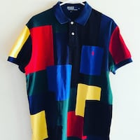 VTG 90s Polo Ralph Lauren  Mix Match  Color Block Patched   Shirt Medium  Heat! Baltimore, 21209