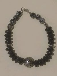 Crystal and silver beaded bracelet