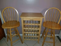 Wine rack holds 25 bottles & 2 bar stools  Clearwater, 33762