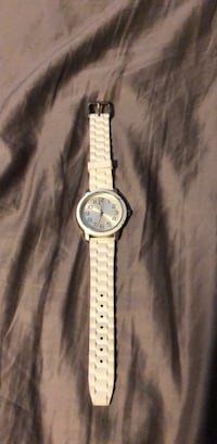 Round silver analog watch with white leather strap Raleigh, 27613