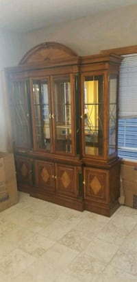 brown wooden framed glass display cabinet Fairview, 07022