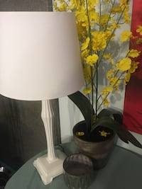 Office lamp, fake flower and candle holder $30 OBO Edmonton, T5W 4K8