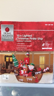 10 ft lighted christmas pirate ship