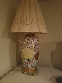 brown, yellow and pink floral ceramic table lamp w Aston, 19014