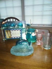 blue tinted glass tealight candle holders and cups