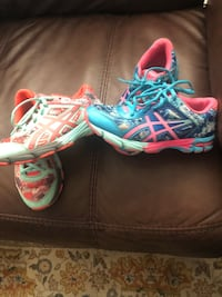 pair of multicolored Nike basketball shoes Monument, 80132