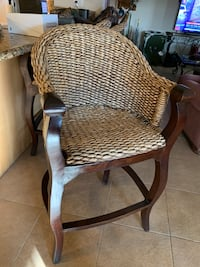 brown wooden framed gray padded armchair Bakersfield, 93312