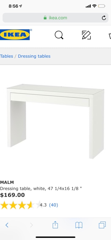 used ikea malm vanity white with glass top and drawer for sale in rh us letgo com