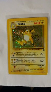 Raichu Holographic  Pokemon trading card game