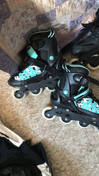 pair of black-and-blue inline skates 1954 km