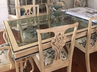White wooden framed glass top table with chairs Gaithersburg