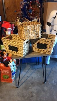 Baskets with chalkboard sign  Austin