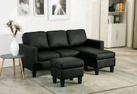 Brand New Black Faux Leather  Sofa +Ottoman  Silver Spring