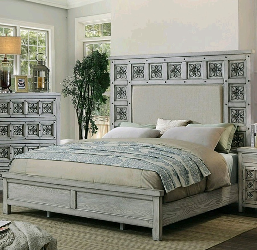 used white wooden bed frame with white bed sheet set for sale in rh gb letgo com
