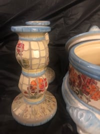 Mosaic candlesticks & storage pot with lid. Mississauga, L5N 6K6