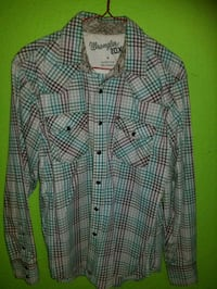 green and white plaid button-up shirt Fort Worth, 76164