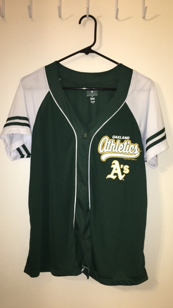 info for 3902e 35673 Green and white Oakland Athletics baseball jersey