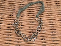 Leather and metal loop necklace Toronto