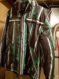Green and white zip-up jacket