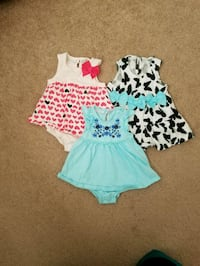 3 skirted rompers