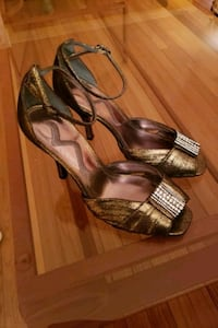 Bronze Lame' Strap Heels size 7M Washington, 20015