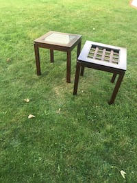 Two square brown wooden top end tables Old Forge, 18518
