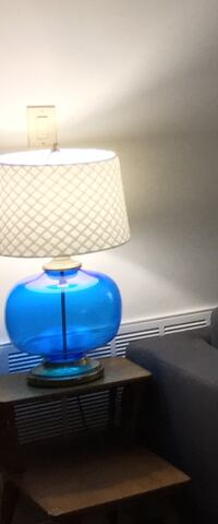 Mid-century blue glass/brass lamps Speonk, 11960