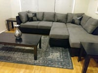 Brand New Grey Microfiber Sectional Sofa +Ottoman  39 km