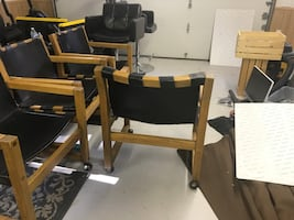 4 leather rolling chairs