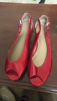 pair of red leather peep-toe heeled shoes Alexandria, 22307
