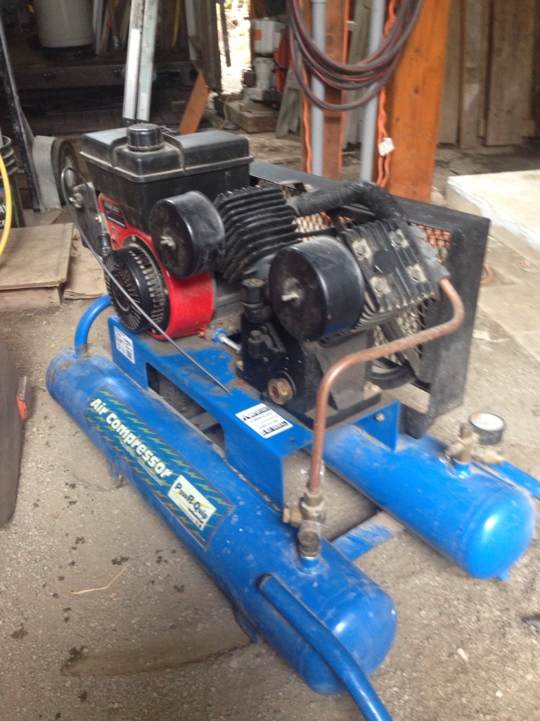 black and blue air compressor