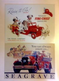 Set Of Tin Signs Texaco Fire Chief And Seagrave Fire Truck London