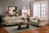 St. Claire Beige Button-Tufted Living Room Set Houston