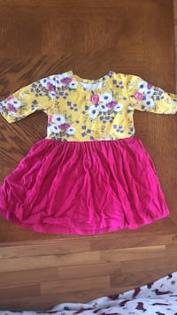 girl's pink and yellow floral dress