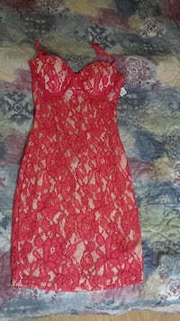 Sexy sleevless Red Lace Club Dress Kitchener