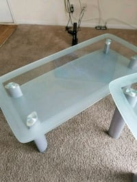 white wooden frame glass top table Silver Spring, 20904