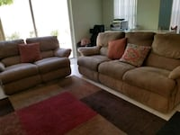 brown fabric 3-seat sofa and sofa chair Coral Springs