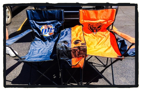 Excellent Chicago Bears Nfl Miller Lite Double Folding Chair Game Day Tailgate Football Chairs Set Theyellowbook Wood Chair Design Ideas Theyellowbookinfo